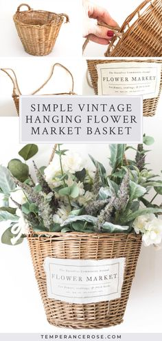 Create a beautiful piece of wall decor from an old basket with this quick and easy, beginner-friendly upcycling project. In just a few steps, this DIY home decor tutorial shows you how to repurpose an old or broken basket to create a floral hanging wall basket that's perfect for farmhouse of French country interior decorating. This basket can be used all year round or to decorate for spring. #upcycling #farmhouse #homedecor #craft #flowers