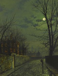 https://flic.kr/p/vK9ZsC | John Atkinson Grimshaw - A Moonlit Street After Rain [1881] | [Sotheby's, London - Oil on board, 46 x 35.5 cm]
