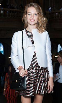 Natalia Vodianova wearing our Spring '14 Campbell dress and Beckett shoulder bag