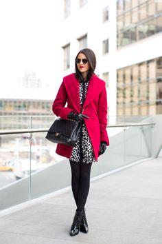 Coat: Trina Turk c/o   Dress: A.L.C   Booties: Derek Lam (similar style)   Glasses: RayBan via Sunglass Hut c/o   Bag: Chanel via Fashionphile c/o   Tights: Nordstrom   Gloves: Nordstrom   Lips: Elizabeth Arden