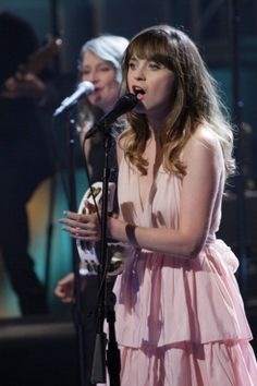 Zooey Deschanel's Pink tiered maxi dress on The Tonight Show with Jay Leno (June 6 2013). Outfit Details: http://wwzdw.com/z/4152/ #WWZDW