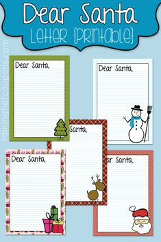 FREE Printable Dear Santa Letter (Write Notes to Santa!) 5 Different Styles!