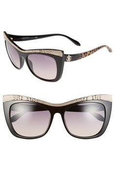 Women's Roberto Cavalli 'Muscida' 56mm Cat Eye Sunglasses - Black/ Rose Gold/ Leopard