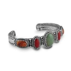 Sterling Silver, Green Turquoise, Coral and Orange Spiny Oyster Shell Cuff Bracelet - Large