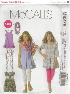 ON SALE McCalls M6275 Sewing Pattern Girls Tops by OhSewWorthIt, $3.30