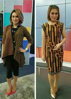 Dress on the right Blouse Batik, Batik Dress, Petite Fashion, Womens Fashion, Batik Fashion, Ghanaian Fashion, Ethnic Dress, African Wear, Appliques