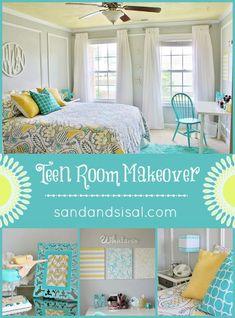 Teen Room Makeover - Gray, Yellow, Turquoise | via @sandandsisal