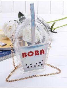 Plata Bolsa de bebida transparente forma bolsa con cadena
