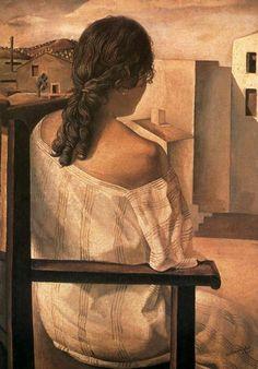 Salvador Dali - Muchacha de Espalda, Salvador Dali's sister Near the Window