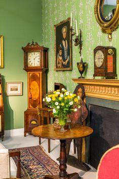 Mansfield Park Sheraton period longcase clock-Regency-bracket-mantel-clock Regency tripod table
