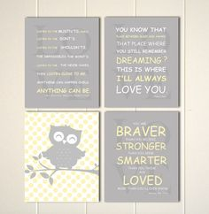 Owl nursery art, baby boy nursery art, Inspirational art for baby, grey yellow nursery, you are braver, nursery typography, Set of 4 by PicabooArtStudio on Etsy, $28.00