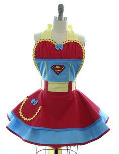 Retro Apron - Superwoman Sexy Womans Aprons - Vintage Apron Style - Comics Pin up Superman Rockabilly Cosplay Lolita