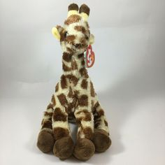 From the Ty Beanie Babies collection. Giraffe Stuffed Animal, Ty Beanie Boos, Giraffes, Pet Toys, Tigger, Disney Characters, Fictional Characters, Plush, Baby