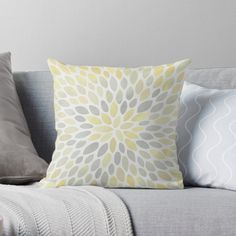 """Floral Bloom Pattern, Yellow and Gray"" Throw Pillow by meggydesigns 