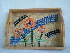 Mosaic tray serving tray  glass mosaic tile art by MurphsMosaics