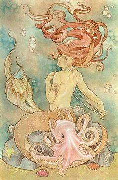 ♒ Mermaids Among Us ♒ art photography paintings of sea sirens water maidens - erin lewis Fantasy Mermaids, Real Mermaids, Mermaids And Mermen, Mermaid Fairy, Mermaid Tale, Illustrations, Illustration Art, Sirens, Le Kraken