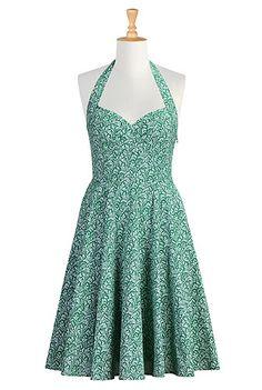 Floral vine print cotton halter dress from eShakti