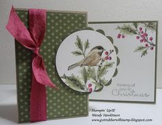 handmade Christmas card form Got Rubber...Will Stamp!: It's a Beautiful Season ... z-fold with a scallop matted circle focal point ... bird on holly branch image ... green polka dot paper background ... like it! ... Stampin'Up!