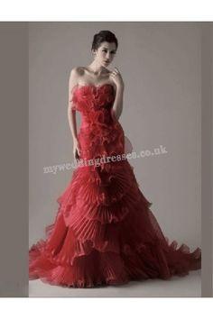 Chapel Train Strapless Red Taffeta Mermaid Trumpet Wedding Dress nwd-06