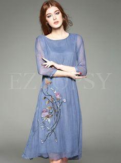 Pure Color Embroidery Silk Loose Dress   Ezpopsy.com
