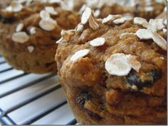 Healthy Pumpkin Muffins: simple uses greek yogurt and applesauce (no oil). I think I'll add 1/2 cup of ground flaxseed!