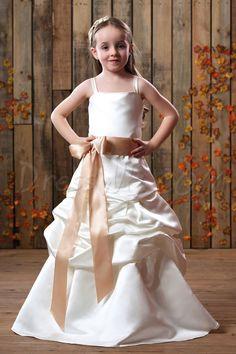 Dresswe.com SUPPLIES Pretty A-line Floor-Length Halter Ruched Bowknot Flower Girl Dress 2013 Flower Girl Dresses