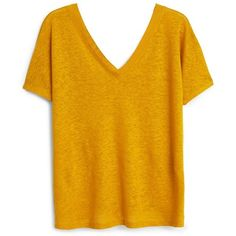 Linen T-Shirt ($28) ❤ liked on Polyvore featuring tops, t-shirts, short sleeve tops, yellow tee, mango tops, yellow top and mango tee