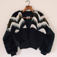 Faux fur jacket black and white