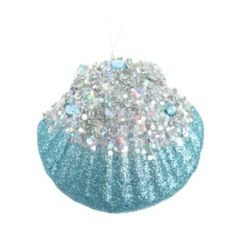 St. Nicholas Square Glitter Seashell Christmas Ornament