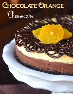 Chocolate Orange Cheesecake - a creamy two layered chocolate and orange cheesecake inspired by the flavor of the famous Terry's Chocolate Orange.