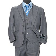 Shop for Ferrecci Boys' Solid Grey Two-button Three-piece Suit. Get free delivery On EVERYTHING* Overstock - Your Online Children's Clothing Shop! Boys Tuxedo, White Tuxedo, Tuxedo Suit, Boys Formal Suits, Kids Suits, White Linen Suit, Discount Suits, Royal Blue Suit, Expensive Suits