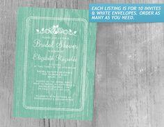 Turquoise Vintage Barn Wood Bridal Shower Invitations