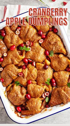 Cranberry Recipes, Apple Recipes, Holiday Recipes, Christmas Recipes, Brunch Recipes, Dessert Recipes, Delicious Desserts, Yummy Food, Apple Dumplings