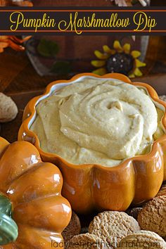 Pumpkin Marshmallow Dip | Add this dip to your Holiday dessert table or take it with you to a party.  Christmas or Thanksgiving this dip is perfect for any Holiday occasion.  Light, fluffy, creamy with the wonderful pumpkin flavor that we all love.