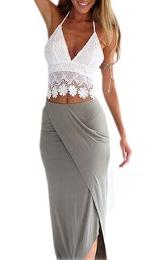 Zeagoo Sexy Women Strap Crochet Deep V-Neck Hollow Out Backless Crop Tops at Amazon Women's Clothing store: