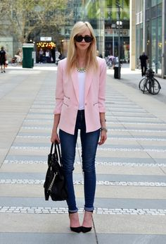 pink blazer with jeans