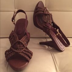 Crochet heeled sandals New, never worn. Excellent condition. Banana Republic Shoes Sandals