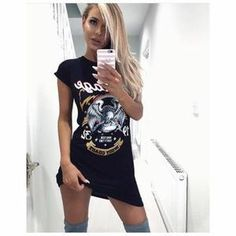 1b358e83bc 2017 Women Summer Print Dress New Vintage Ladies Rock Style Short Sleeve  Neck Eagle Graffiti Sexy Mini Dresses Ukraine Fashion