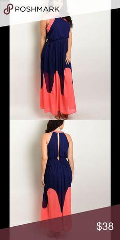 Plus Size 1X, 2X, 3X Stunning Coral & Navy Maxi BRAND NEW! Dresses Maxi
