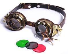 Lunettes goggles steampunk marron lentilles réglables et couleur changeable