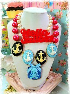 Hello Sailor Pin Up Girl Necklace
