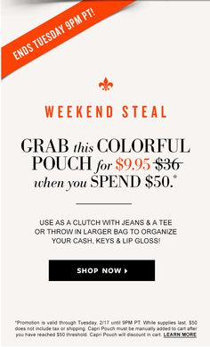 Weekend Steal - Grab this colorful pouch for $9.95 when you spend $50. Use as a clutch with jeans and a tee or throw in a larger bag to organize your cash, keys and lip gloss! Shop Now. Ends Tuesday 9pm PT! shop and purchase at www.stelladot.com/tan