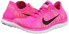 Nike Women's Free 4.0 Flyknit Running Sneaker (5.5, Pink)