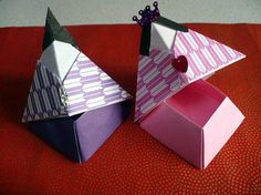 Kids Origami, Origami Paper, Origami Boxes, Diy And Crafts, Crafts For Kids, Paper Crafts, Origami Box Tutorial, Hina Matsuri, Hina Dolls
