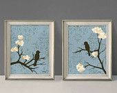 Shabby Love Bird Wall Decor Prints, Cottage Chic, Blue and cream, Large Prints, Set of Two, 11 x 14 inches
