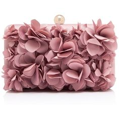 Violet 3D Floral Clutch (155 RON) ❤ liked on Polyvore featuring bags, handbags, clutches, red handbags, red clutches, violet purse, violet handbags and floral print handbags