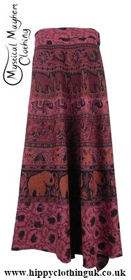 Long Cotton Throw Wrap Hippy Festival Skirt Burgundy