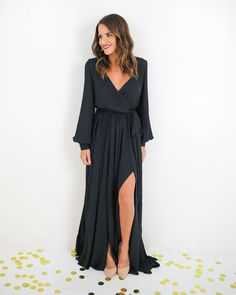 Long Sleeve Diana Maxi Dress - Black