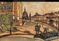 Hugo Scheiber (Hungarian, 1873 - Road Maintenance on the Bank of the Danube, Berlin, Avant Garde Artists, Commercial Art, Hanging Art, Urban Landscape, Budapest, Art Museum, Vivid Colors, Art Gallery