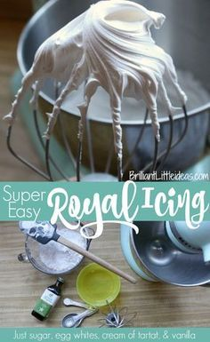 Super Easy Royal Icing, no meringue powder, cookie icing, cake icing, gingerbrea. Royal Icing Recipe Without Meringue Powder, Best Royal Icing Recipe, Royal Frosting, Royal Icing Recipes, Egg White Frosting, Royal Icing Recipe With Egg Whites, Royal Icing Recipe Cream Of Tartar, Buttercream Frosting, Flooding Icing Recipe